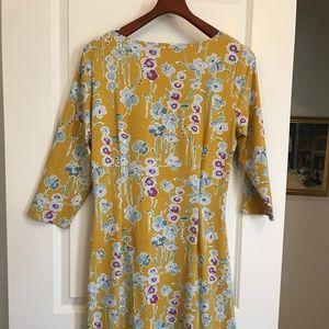 J McLaughlin Yellow Floral jersey dress SZ XL NWT
